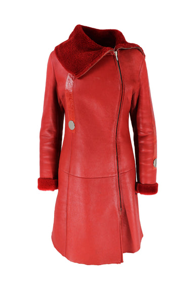 description: vintage imperio red coat. featuring a fuzzy interior lining and silver accent buttons.