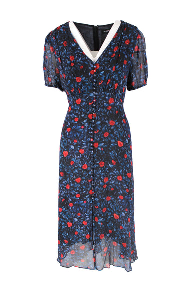 the kooples multicolored floral dress. features black exterior with blue and red floral patterns throughout, button closures a long center with silver hardware details, front vent at center, short sleeves with elastic cuffs, navy interior lining and zip closure at back.