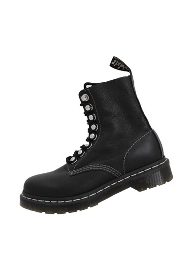 dr. martens black leather boots. features grey and white contrast stitching, silver toned hardware and rubber tonal soles.