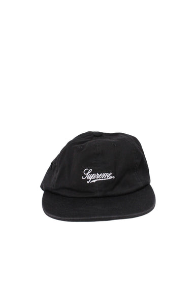 supreme black unstructured six panel hat. features 'supreme' logo tag at front with adjustable branded leather clasp/strap closure at back. hidden zip pocket on side panel.