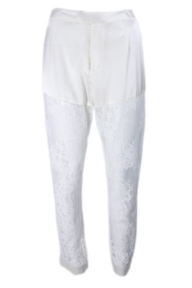 fleur du mal creme silk and lace pants. features back pocket and original tags attached.