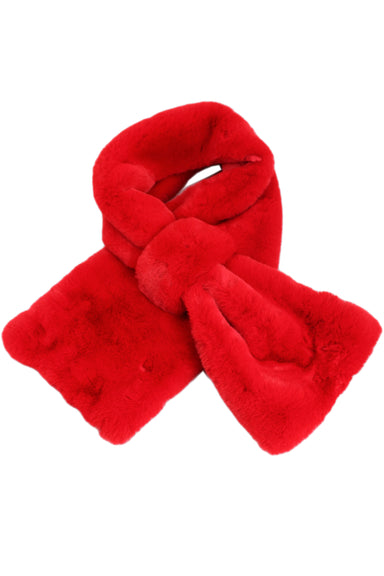 apparis red faux fur scarf. features soft texture, satin red inner lining, & loop for scarf end.