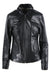 vintage black leather jacket. features a collared neckline, and zippers on both sleeves.