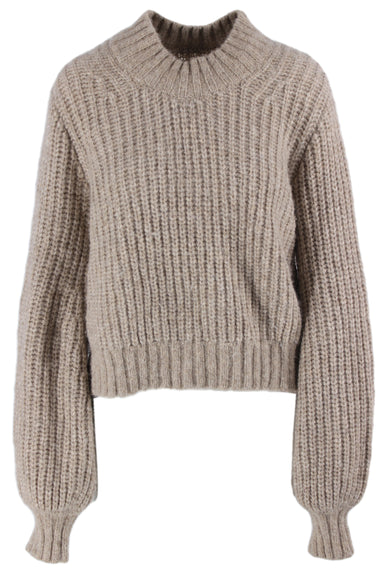 description: dôen taupe knit sweater. featuring balloon sleeves.