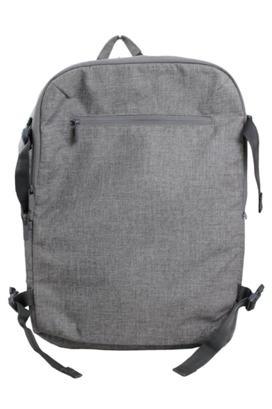 made by design gray multipurpose backpack. features 3 zippered compartments with inner mesh storage and compressible, buckled sides. padded shoulder strap and backing, top and side handles. lined.