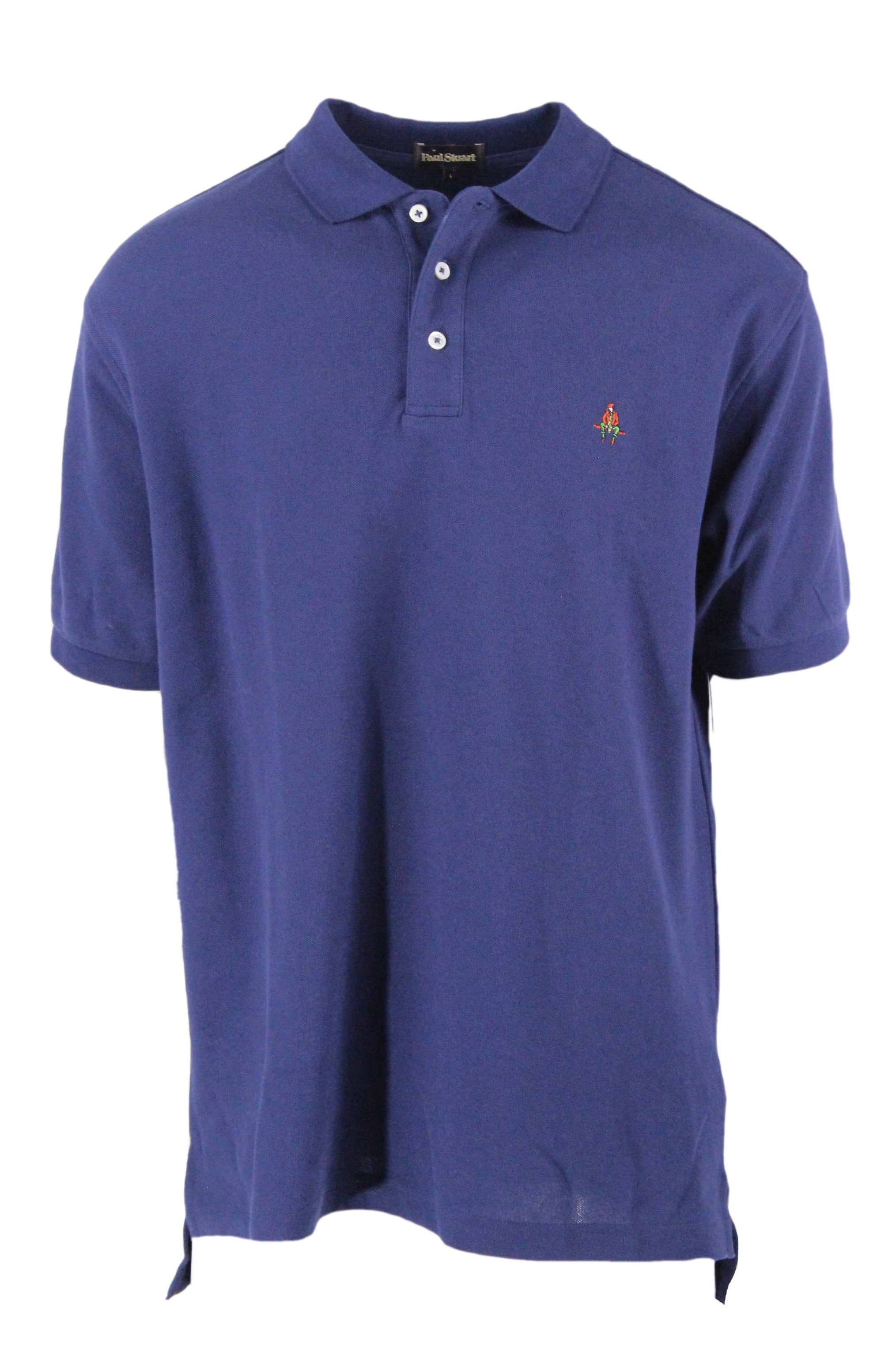 paul stuart navy short sleeve polo shirt. features graphic embroidered at left breast, three button placket with ribbed collar, cuffs, and hem.