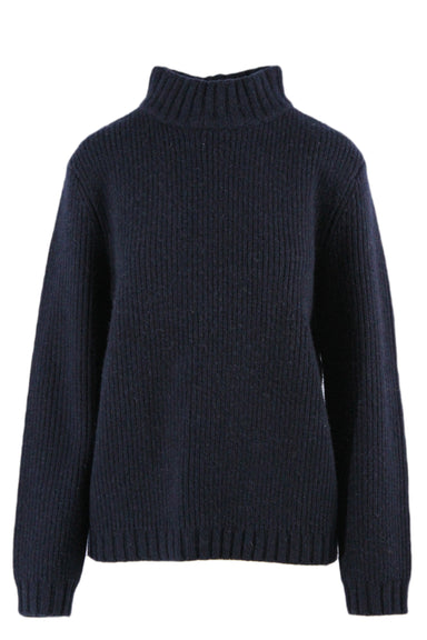 steven alan navy blue mockneck long sleeve knit sweater. features ribbed hemline & sleeve cuffs.
