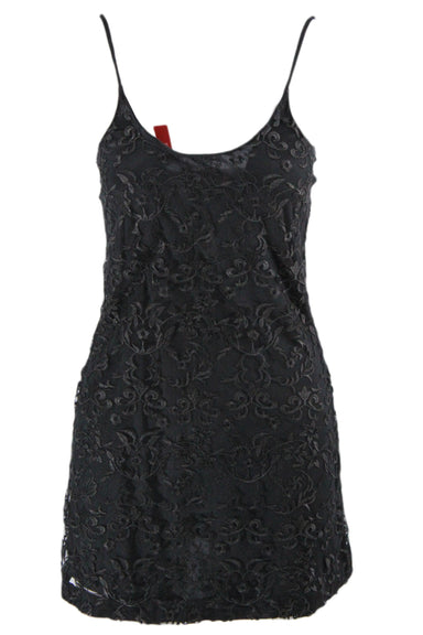 saks fifth avenue little black dress. features adjustable straps, and a floral mesh body.