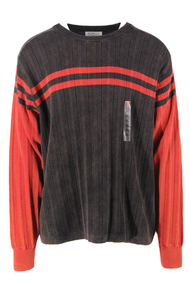 levi's mocha and crimson vintage inspired long sleeve sweater. features vertical rib knit throughout and horizontal stripes at upper in a boxy cut.