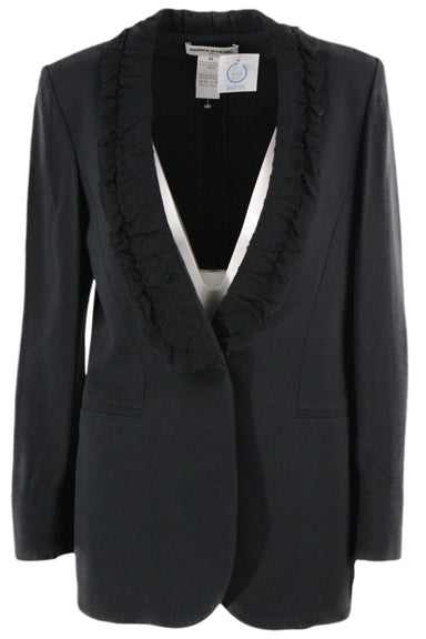 sonia rykiel black blazer. featuring single button closure, ruched mesh lape & collar, 2 pockets, button wrists, and single gold & diamante detail at right pocket.