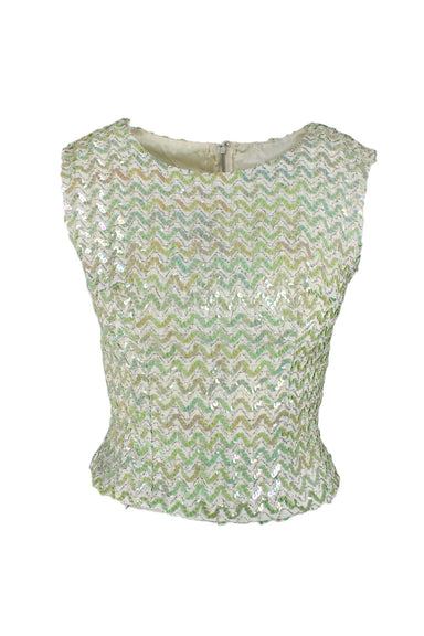 vintage jade sleeveless top. features sequin and metallic embellishments throughout and concealed zipper hidden by flap.