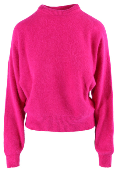 vintage hot pink fuzzy sweater. featuring rib-knit hems.