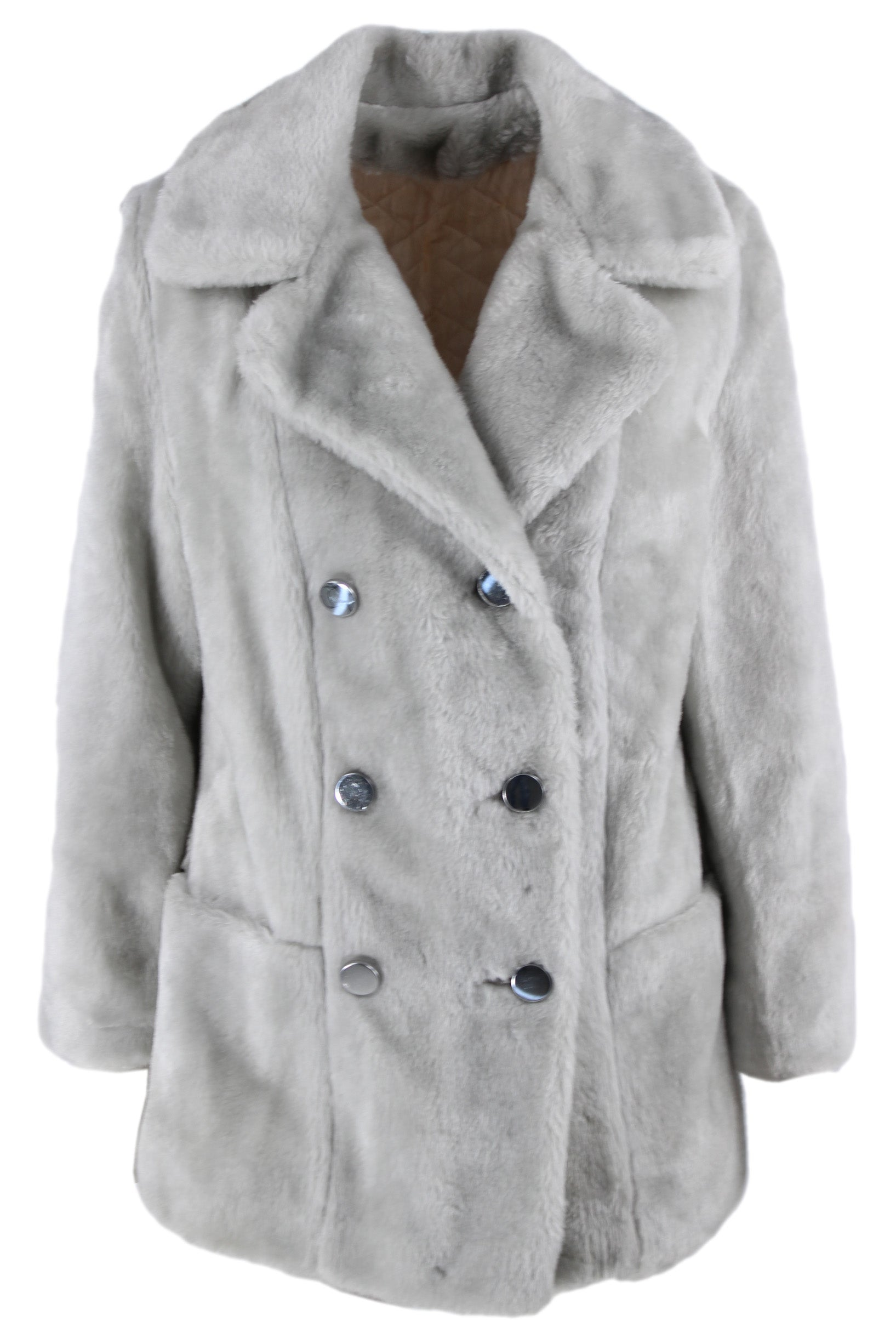sears fashions grey collared faux fur jacket. features a button down closure & two pockets.