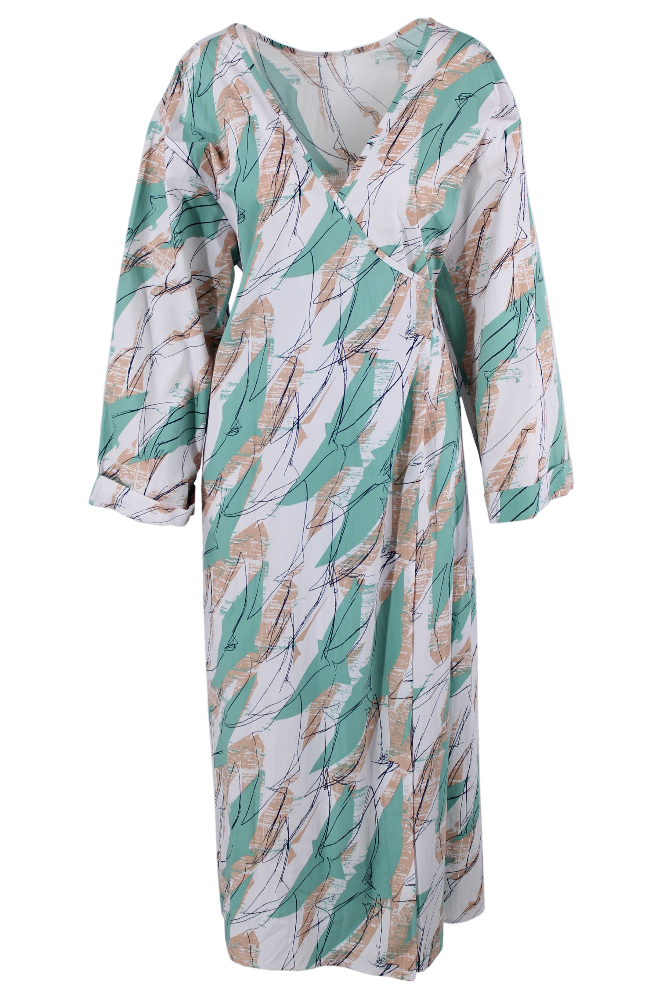 shop peche white & mint green print wrap dress. features open sleeves, a v neckline, belt & wrap fastening, & two side pockets. midaxi length.
