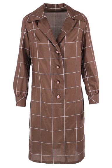 brown long sleeve collar dress. features a white grid print, a button up closure, buttoned sleeve cuffs, wing collar, & a v neckline.