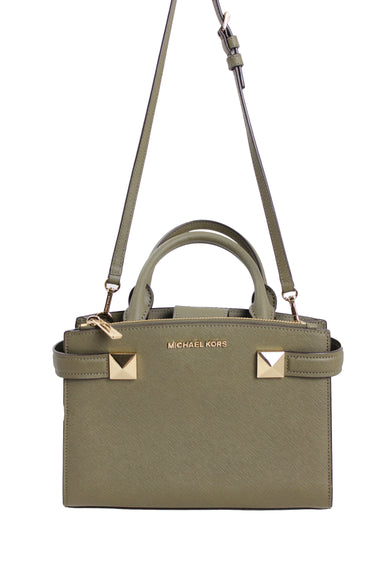 michael kors olive green satchel purse. features a snap magnetic closure, three pockets, & a shoulder strap.