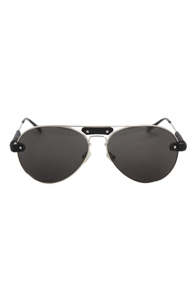 description: chloé silver aviator sunglasses. featuring leather accents and black lenses.