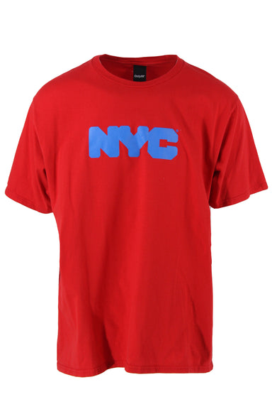 only ny red cotton 'nyc' short sleeve t-shirt. features cerulean blue 'nyc' front graphic and ribbed crew neck in a relaxed cut.