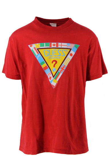 description: vintage guess red t-shirt. featuring logo graphic across the front.