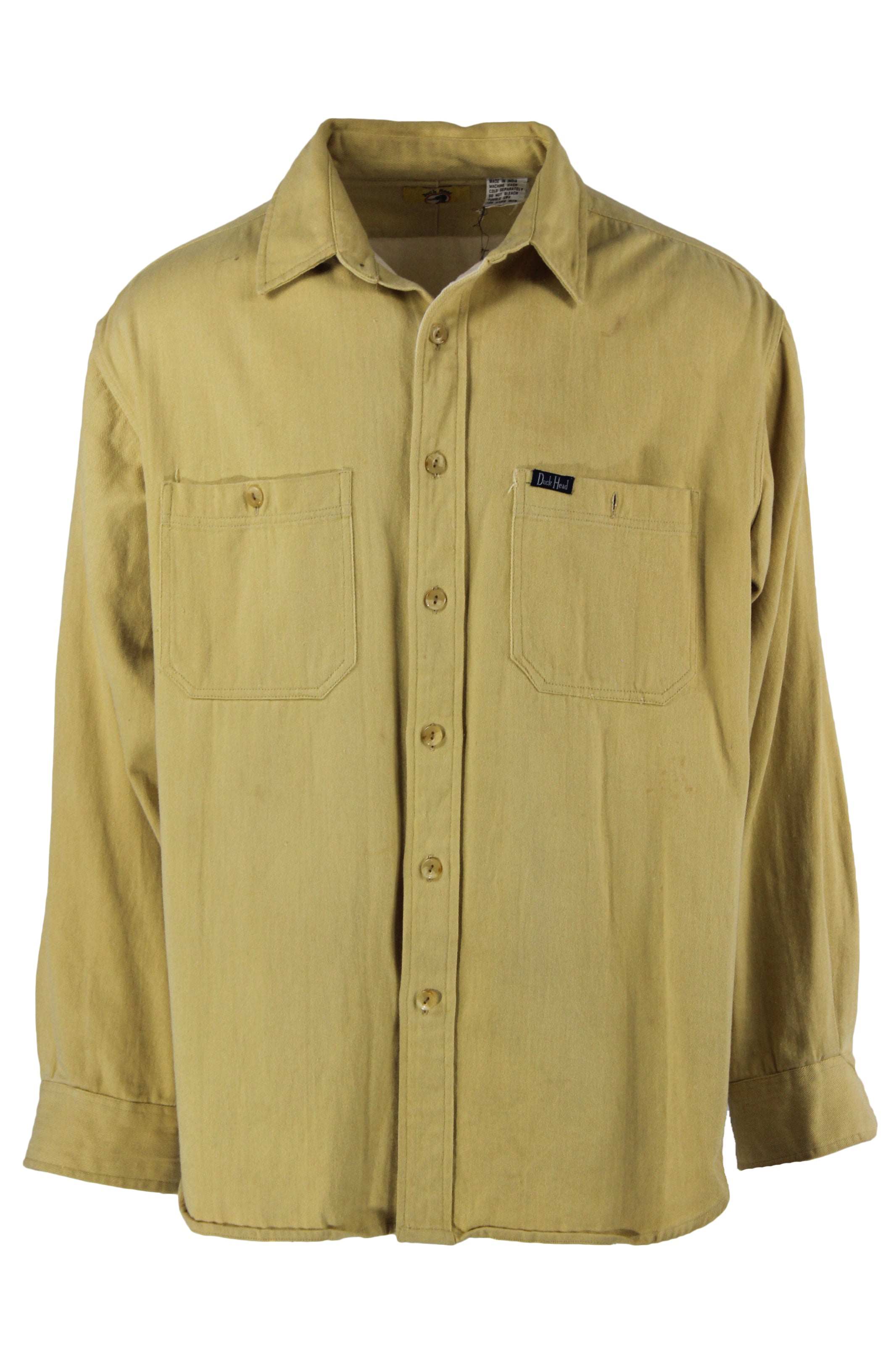 duck head pale lime long sleeve collar top. features a button down closure, two chest pockets, & buttoned sleeve cuffs.