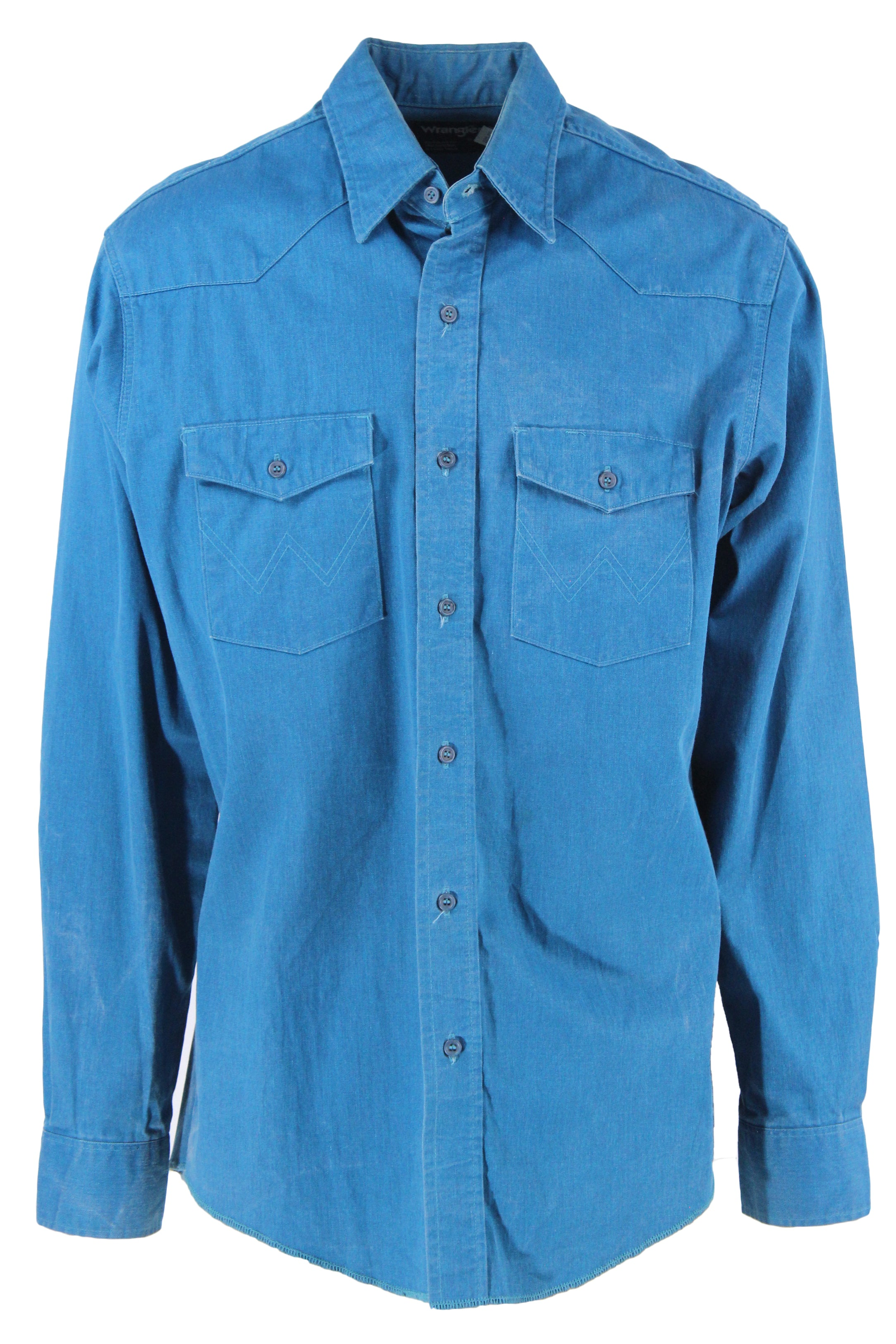 vintage wrangler teal long sleeve button down western shirt. features topstitched flap chest pockets and extra-long tails in a regular fit.