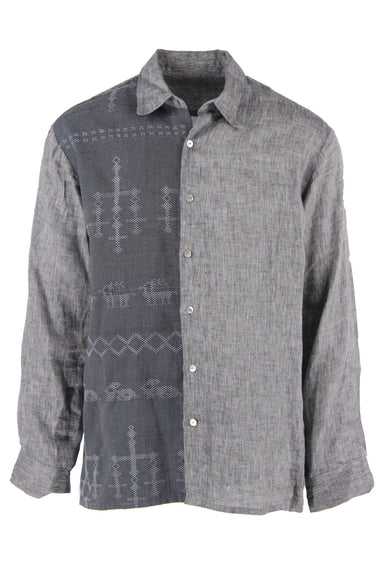 unlabeled long sleeve charcoal linen shirt. features black and gray front right panel with woven prehistoric-like shapes throughout. genuine mother-of-pearl front and cuff closures, regular cut.