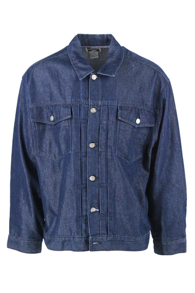 vintage dark blue denim jacket. features silver tone metal accents, and two flap pockets at the chest.