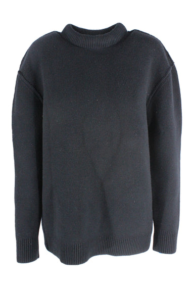 marc by marc jacobs black long sleeve mockneck knit sweater. features a thick silhouette.