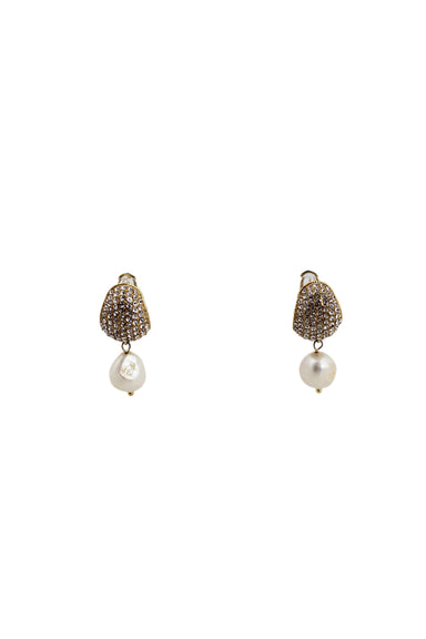 celine diamante and pearl earrings. featuring diamante encrusted gold earlobe cuff with mother of pearl drop pendant. and hinged post earring back.