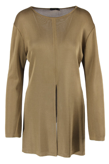 vintage pale brown long-sleeve top. features a slit at the bottom center front, and a cropped back.