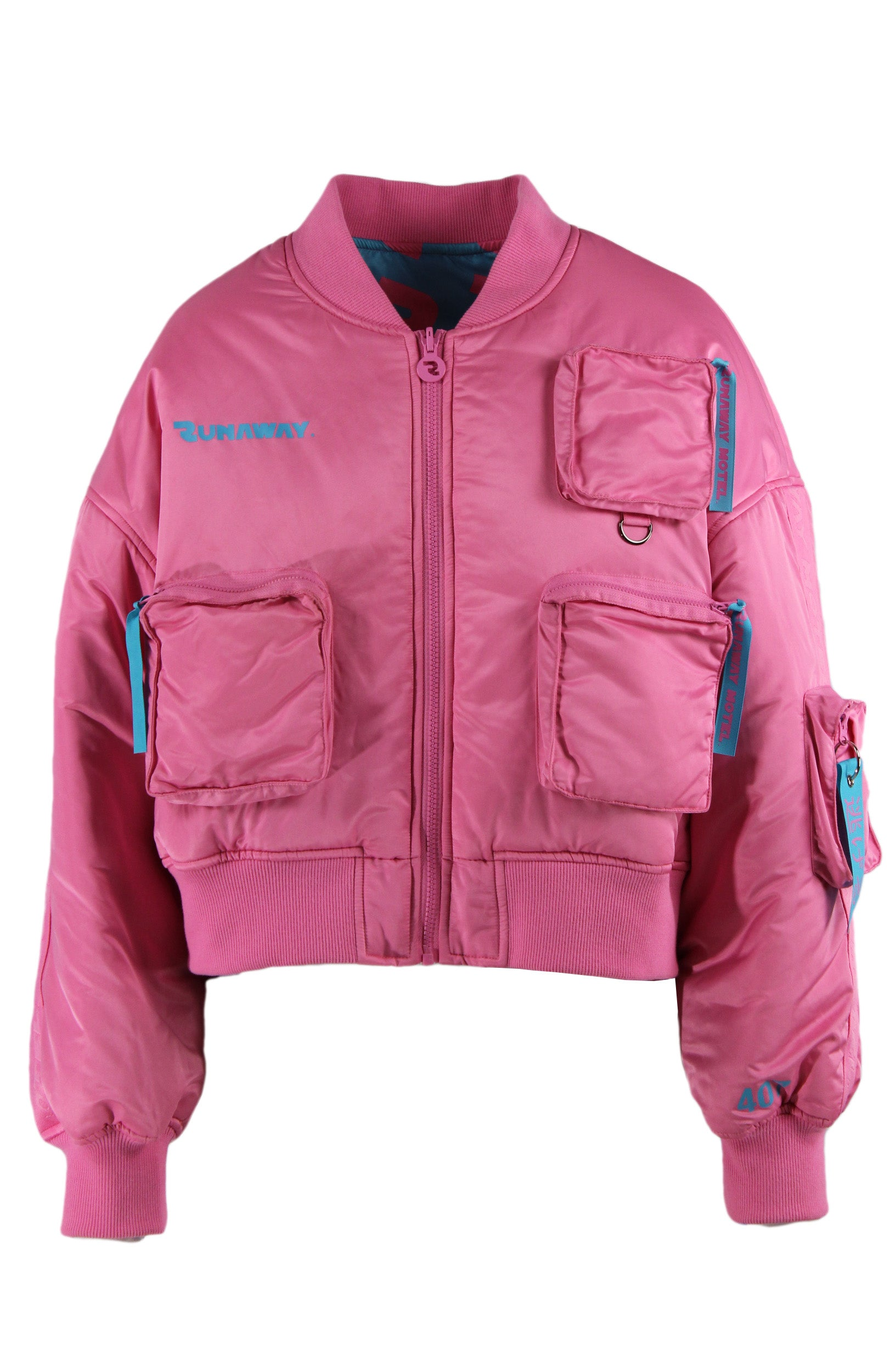runaway pink short line bomber jacket. features four zipper pockets & a zipper closure.