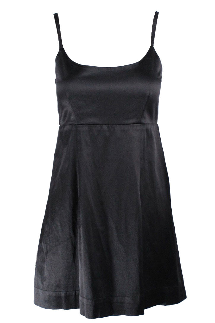 courtyard black dress. features spaghetti strap with fit and flare silhouette.