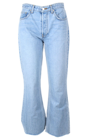 reformation blue light wash jeans. features silver tone button closures, mid rise and cropped flare leg.