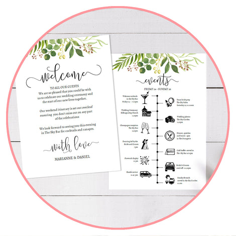 Welcome & wedding weekend Itinerary and timeline templates