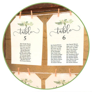 Printable Wedding Seating Plans & Signage Templates