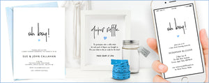 Minimalist baby boy shower templates to edit and print at home