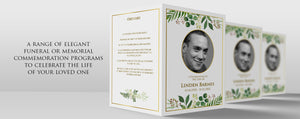 Greenery DIY funeral program template to edit and print at home