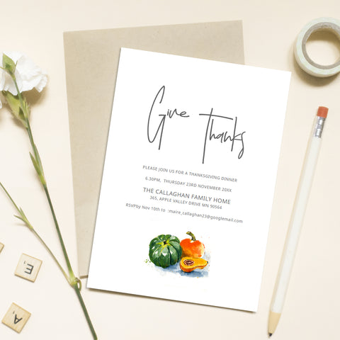 thanksgiving diner template with modern font