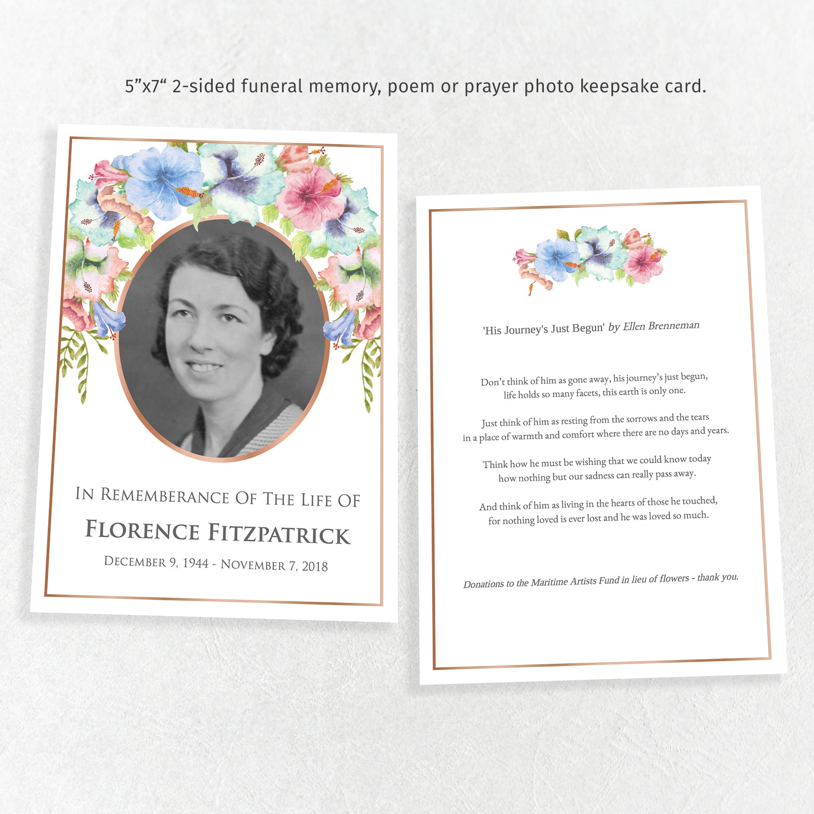 Funeral memory or prayer card, mother or grandmother template