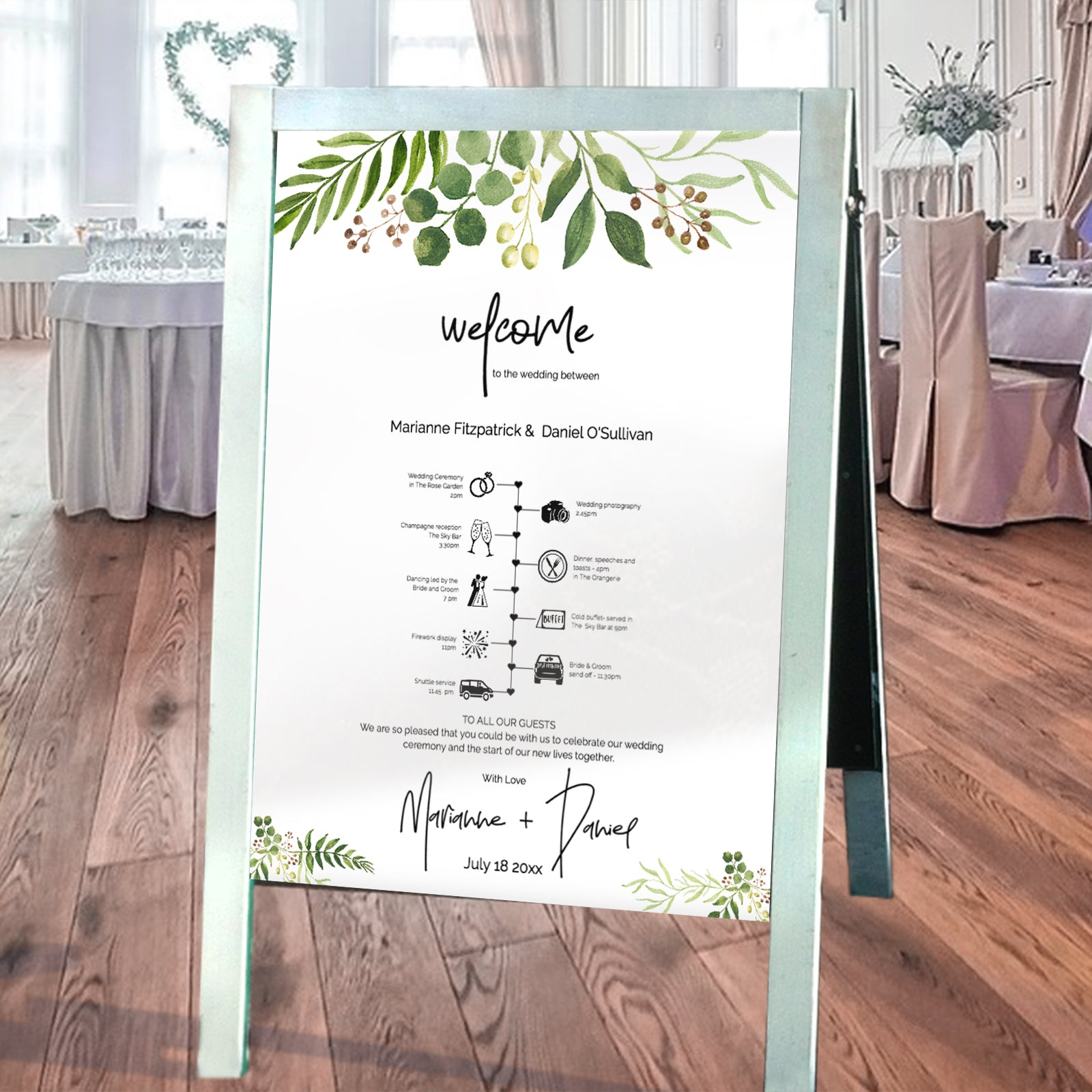 Printable wedding welcome agenda poster
