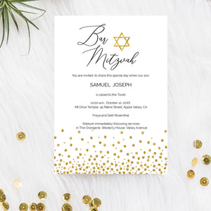 DIY custom Bar Mitzvah invitation with gold Star of David