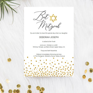 Custom Bat Mitzvah invitation, gold Star Of David, DIY printable template