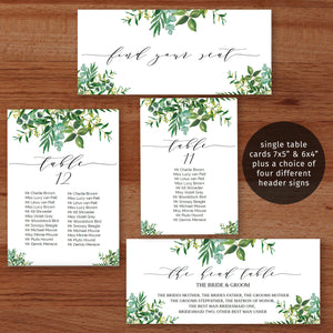 Printable greenery wedding seating chart set, modern font, mesa, tavolo, tisch