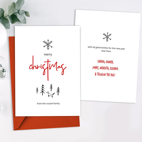 Minimalist Merry Christmas Card Template, Hand Drawn Nordic Fox, Modern Font