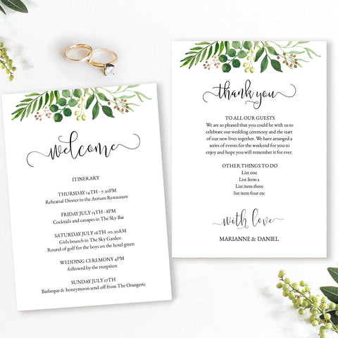 Greenery watercolor wedding guest welcome card template