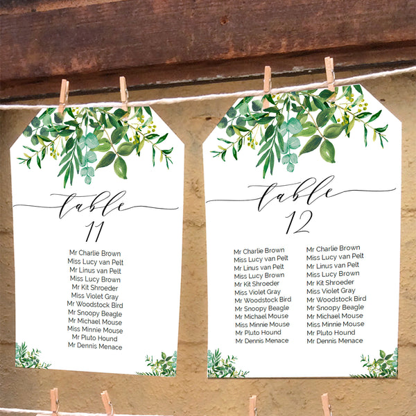 Chic modern greenery wedding seating chart, printable seat plan template