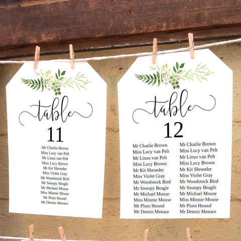 Printable greenery single table seating chart, editable template by The Stationery Concierge