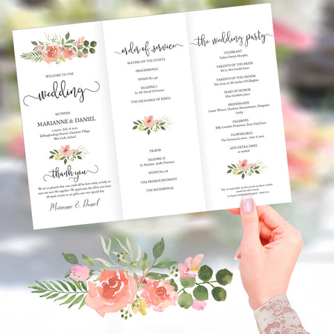 Printable z-fold wedding template with blush pink roses