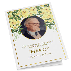 Yellow flower folding funeral program template