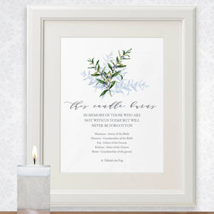 Olive branch Wedding memorial this candle burns for sign, contemplative guest in loving memory poster, several sizes priced from